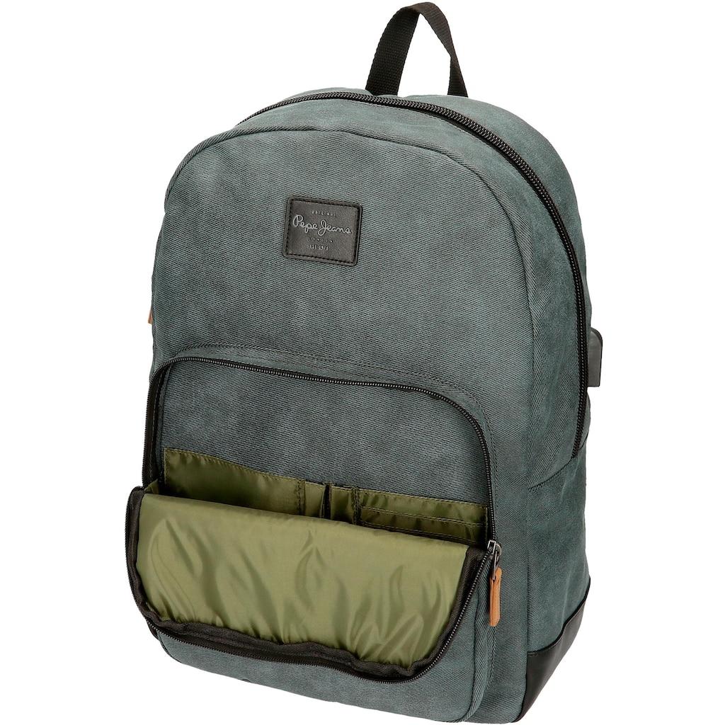 Pepe Jeans Laptoprucksack »Cargo, grau«, mit USB-Anschluss
