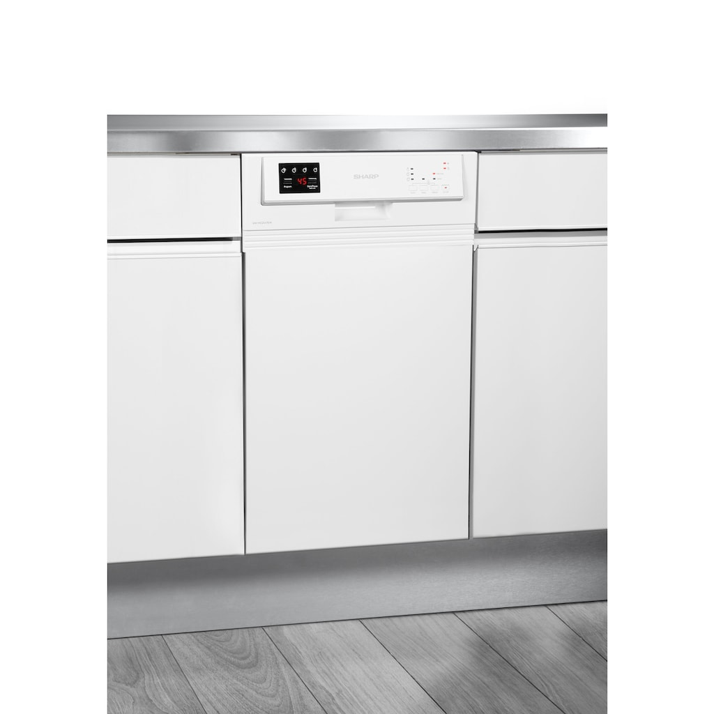 Sharp teilintegrierbarer Geschirrspüler, QW-HS12S47EW-DE, 11 Maßgedecke