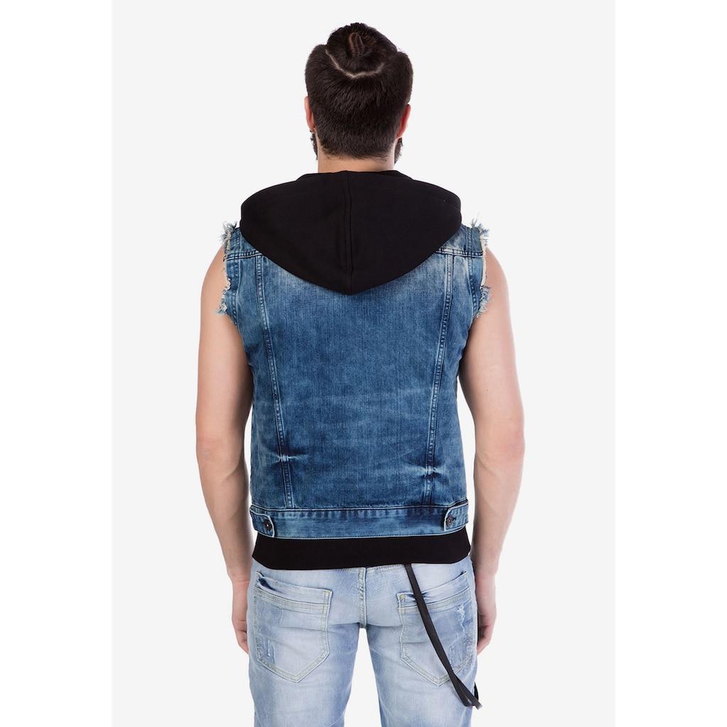 Cipo & Baxx Jeansweste, mit praktischer Kapuze