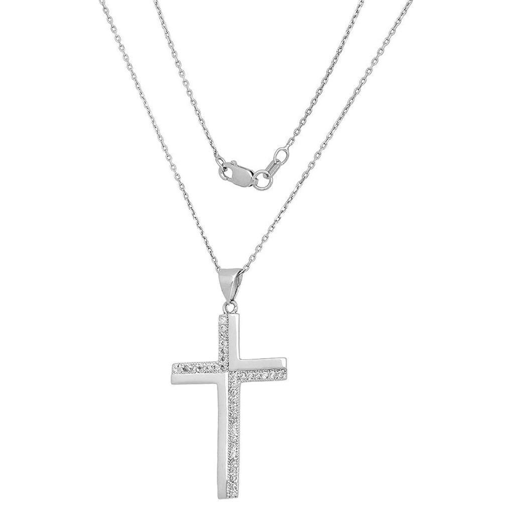Firetti Kette mit Anhänger »Kreuz, rhodiniert, glanz«, mit Zirkonia