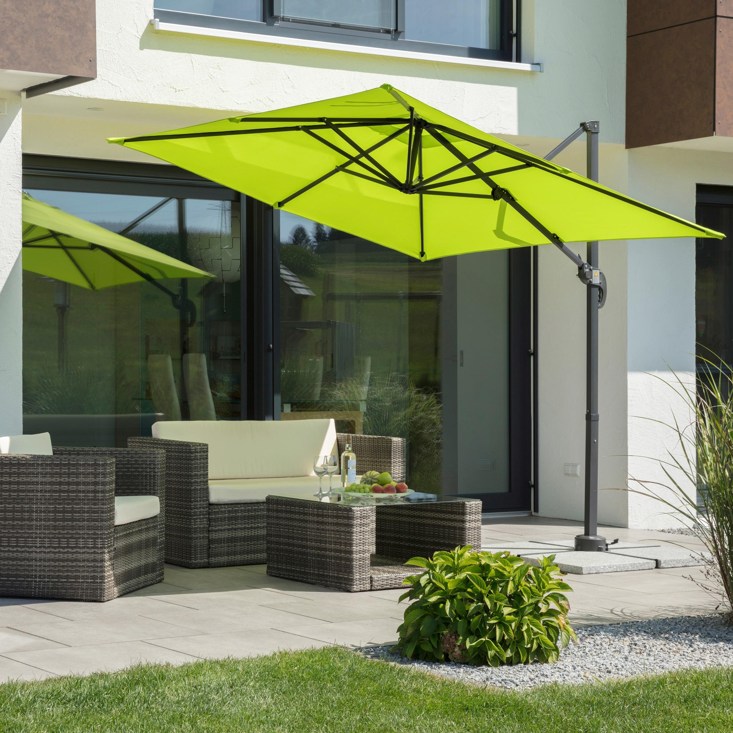 Schneider Schirme Ampelschirm Rhodos Junior, mit Schutzhülle, ohne Wegeplatten grün Sonnenschirme -segel Gartenmöbel Gartendeko