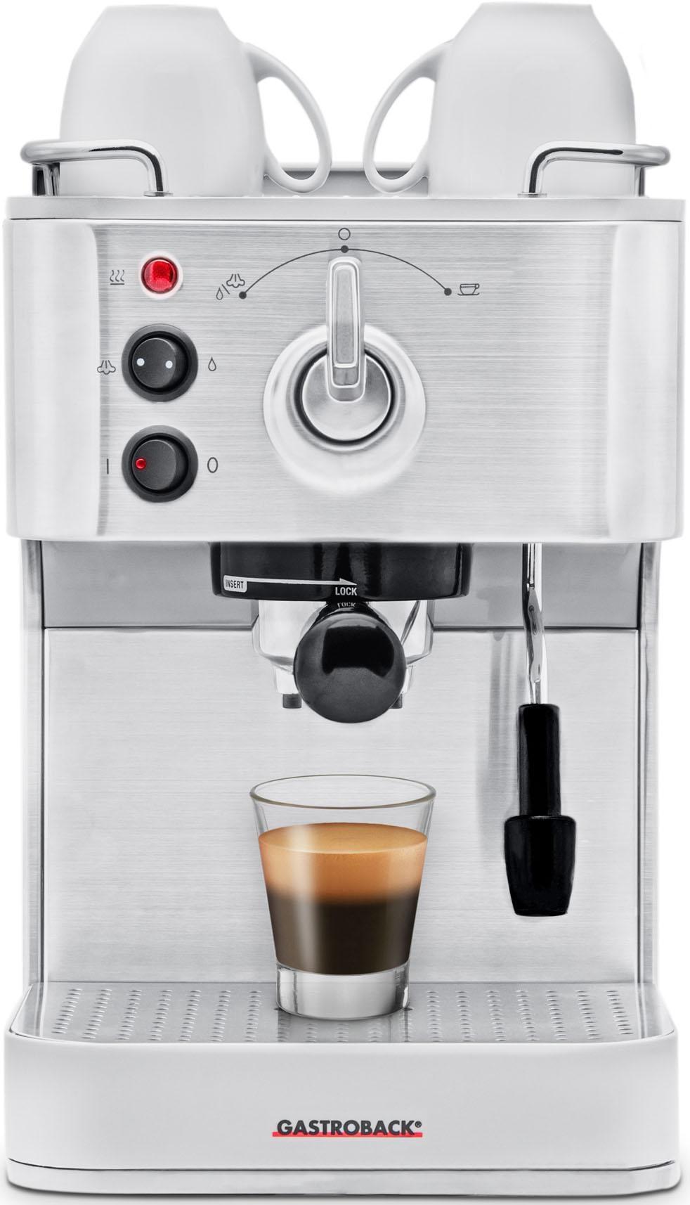 Gastroback Siebträgermaschine Design Espresso Plus 42606 silberfarben Kaffee SOFORT LIEFERBARE Haushaltsgeräte