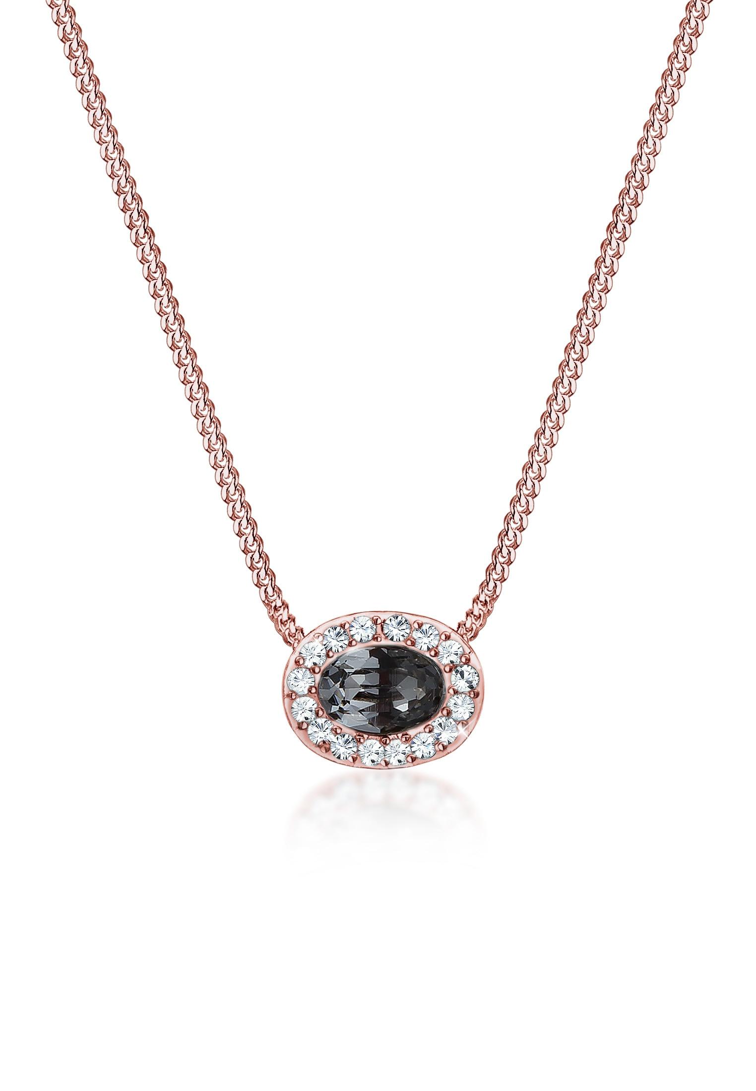 Elli Collierkettchen Panzerkette Oval Swarovski Kristalle 925 Silber | Schmuck > Halsketten > Panzerketten | Elli