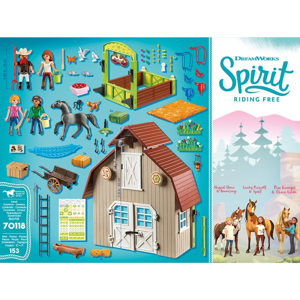 Playmobil® Konstruktions-Spielset »Stall mit Lucky, Pru & Abigail (70118), Spirit Riding Free«, Made in Germany