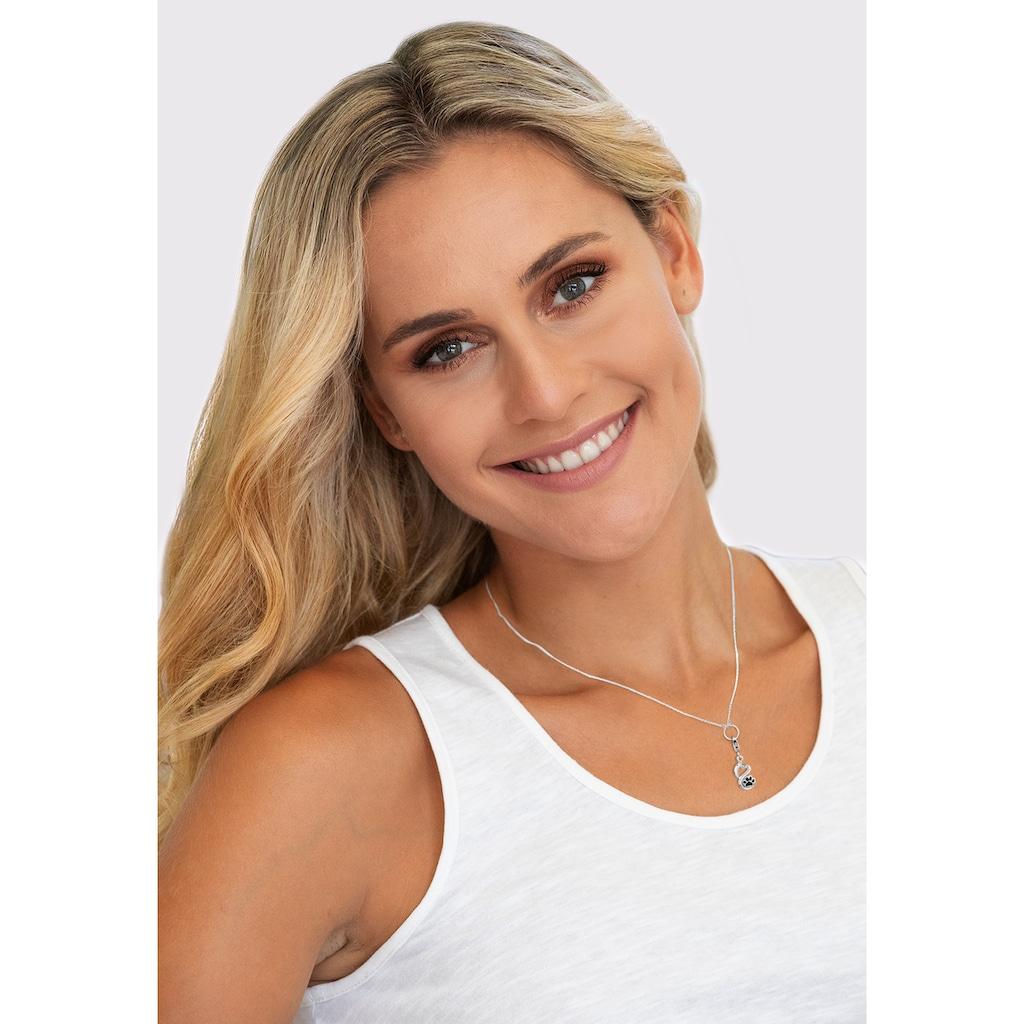 Nenalina Charm-Einhänger »Anhänger Herz Pfote Tierliebe Emaille 925 Silber«