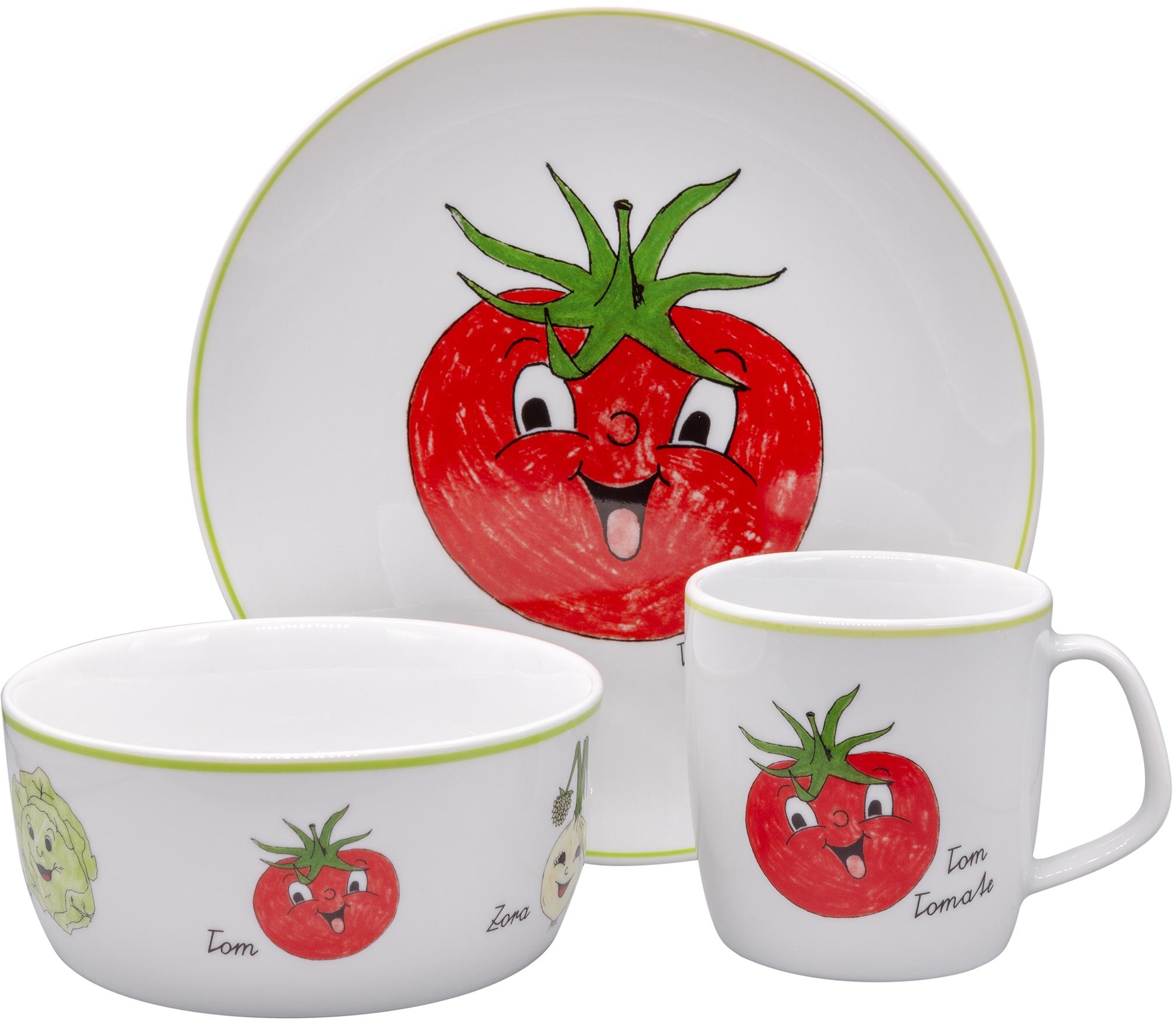 Eschenbach Kindergeschirr-Set Gesunde Freunde Tomate, (Set, 3 tlg.) bunt Kinder Kindergeschirr Geschirr, Porzellan Tischaccessoires Haushaltswaren