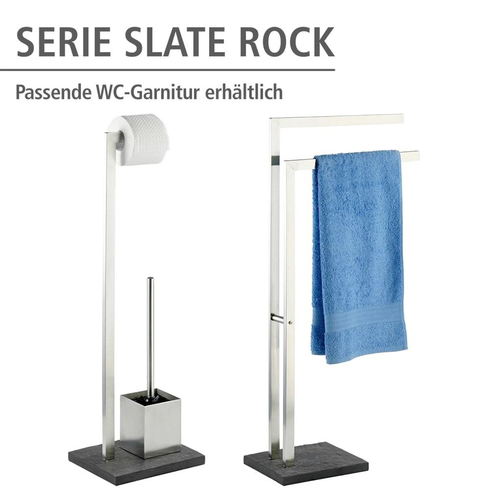 WENKO Handtuchständer »Slate Rock«, mit 2 Armen, Kleiderständer, Edelstahl rostfrei