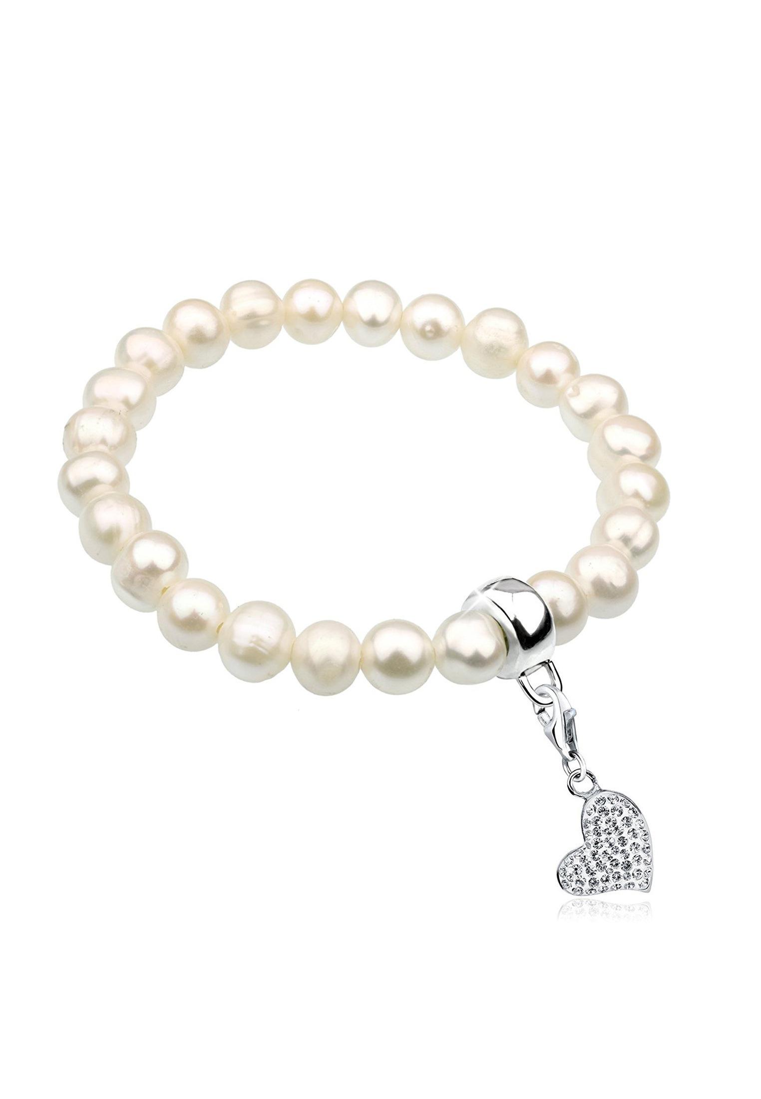 Nenalina Perlenarmband Perlen mit Herz Symbol aus Swarovski Kristalle | Schmuck > Armbänder > Perlenarmbänder | Nenalina