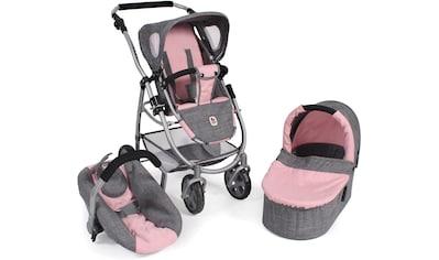 CHIC2000 Kombi-Puppenwagen »Emotion All In 3in1, Grau-Rosa«, inkl. Babywanne,... kaufen