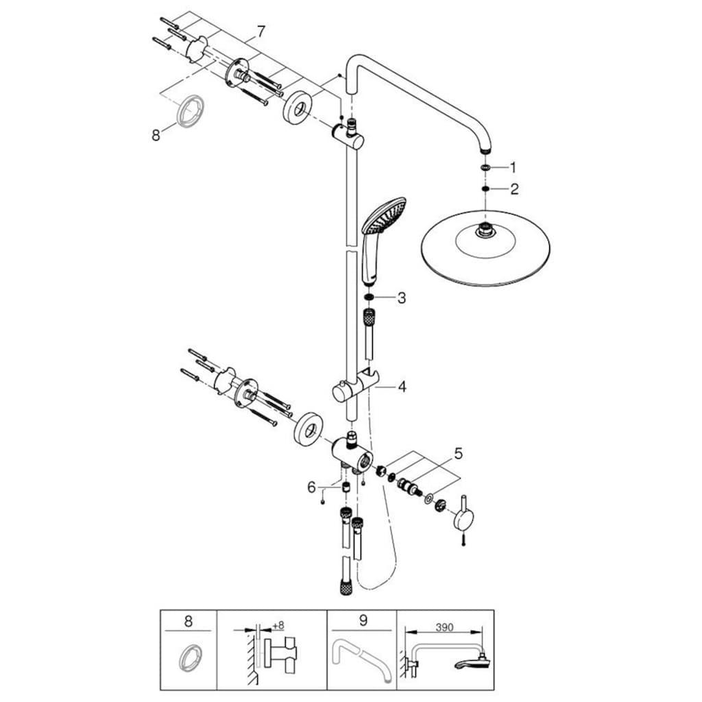 Grohe Brausegarnitur »Euphoria System 260«, für Wandmontage, mit Umstellung