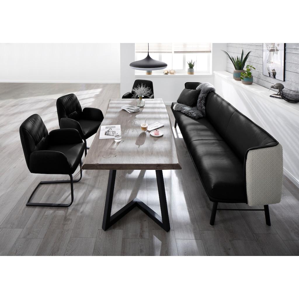 W.SCHILLIG Essbank »chloé«, 3-Sitzer Küchensofa mit dekorativer Biese, mit black and white Absetzung im Rücken, in 3 Breiten