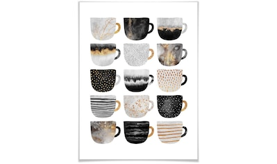 Wall-Art Poster »Kaffeetassen Schwarz Gold«, Geschirr & Besteck, (1 St.) kaufen