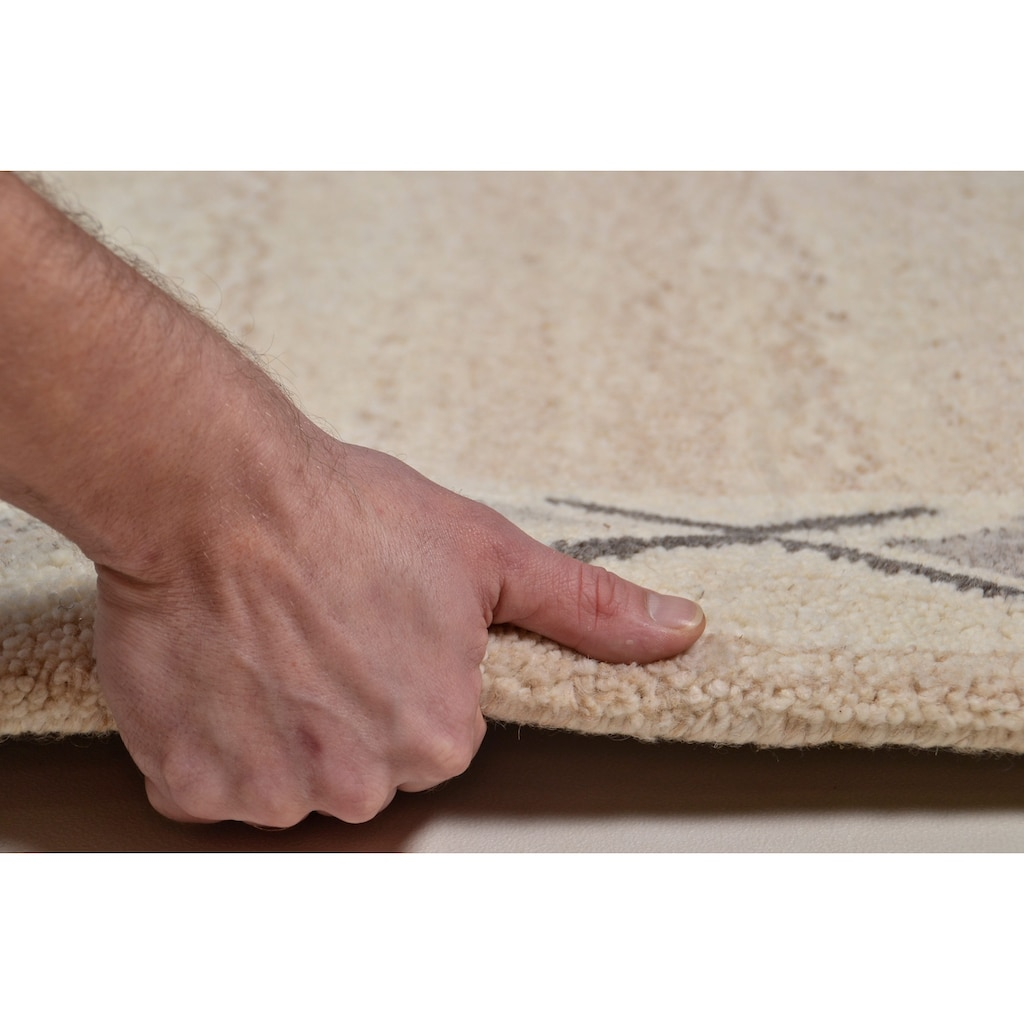 THEKO Wollteppich »Royal Berber«, rechteckig, 18 mm Höhe, reine Schurwolle, Wohnzimmer