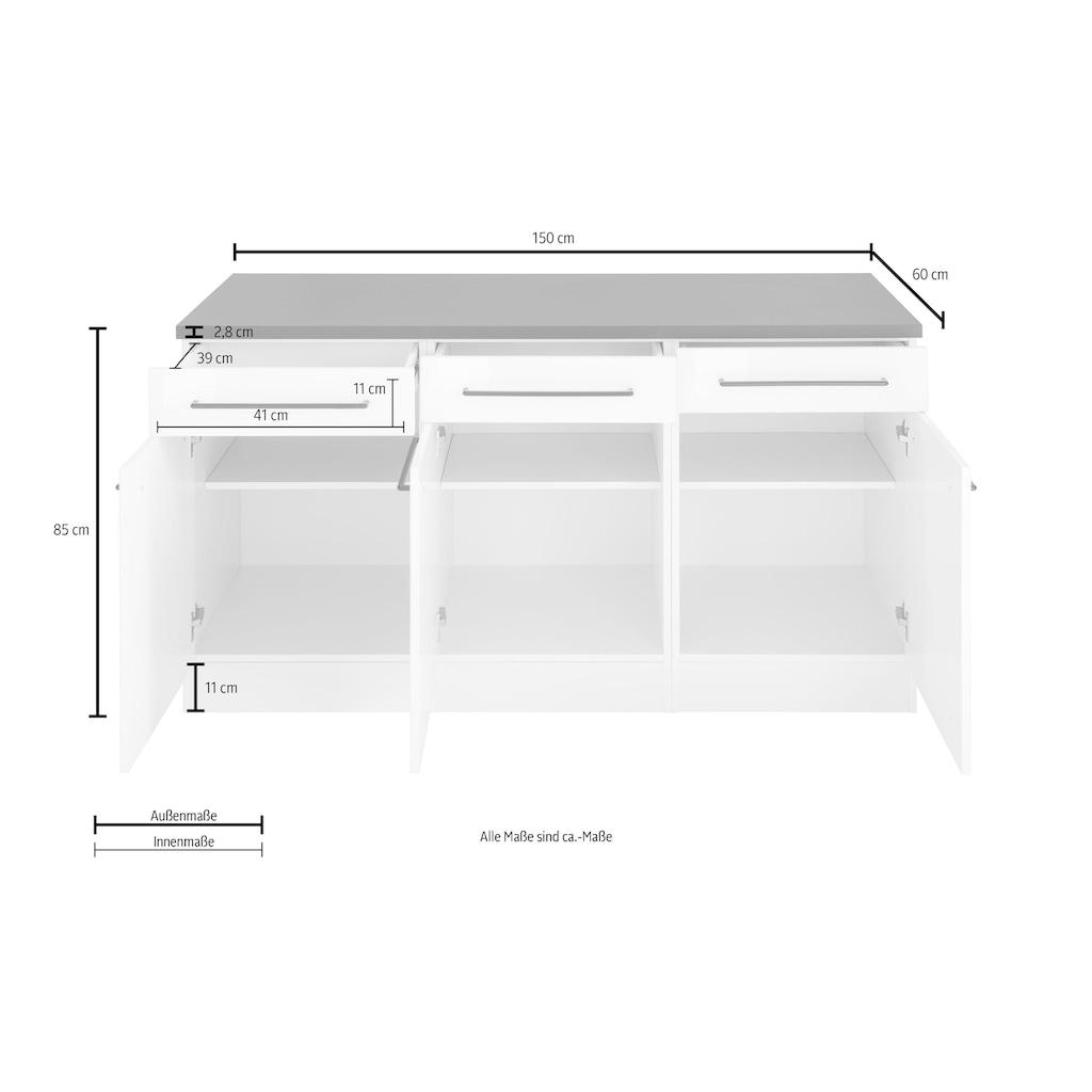 HELD MÖBEL Unterschrank »Tulsa«, 150 cm breit, 3 Schubkästen, 3 Türen, viel Stauraum, auch als Sideboard verwendbar, schwarzer Metallgriff, hochwertige MDF Front