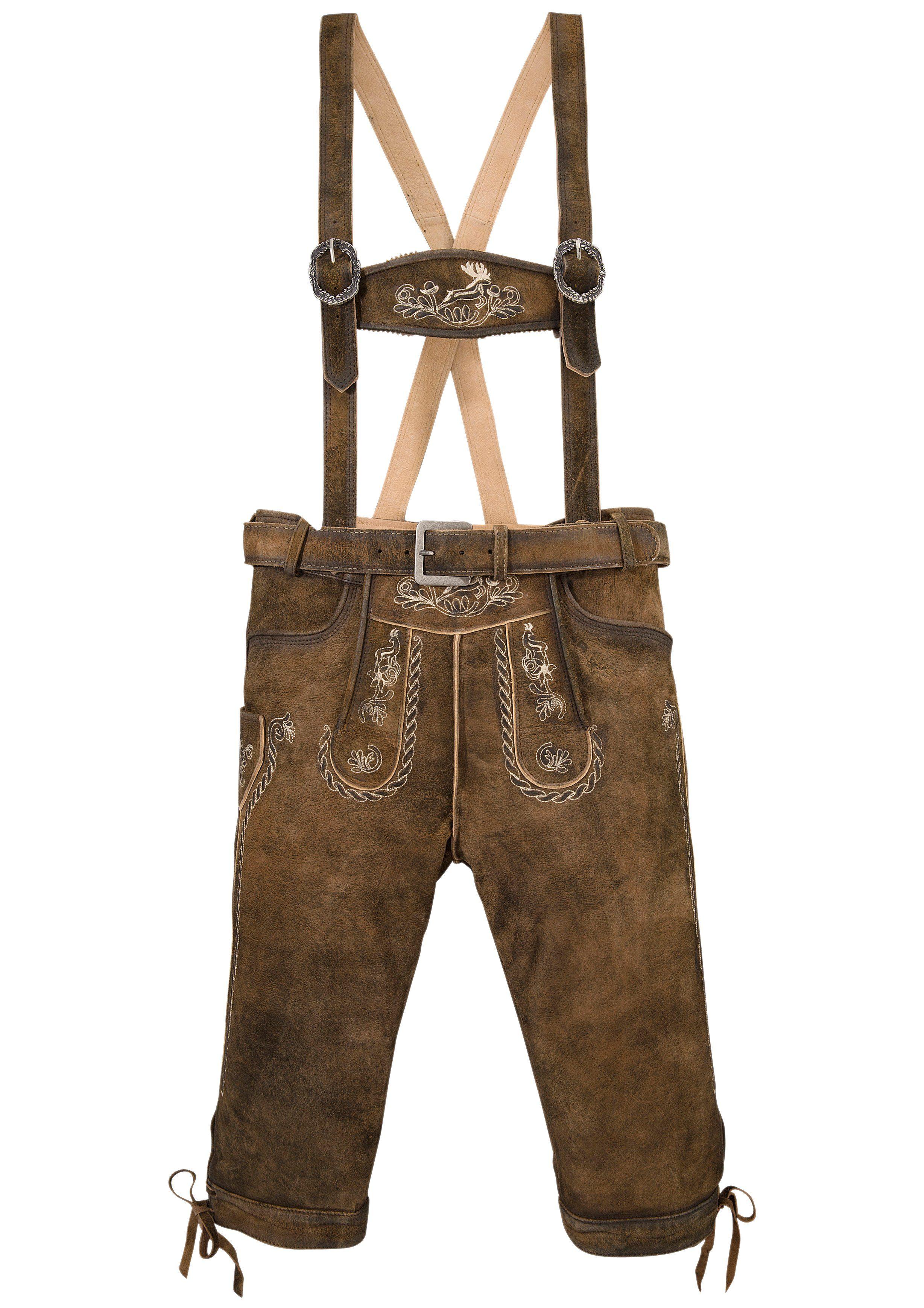Marjo Trachtenlederhose 3/4-lang Herren mit traditioneller Stickerei | Bekleidung > Hosen > Lederhosen | Marjo