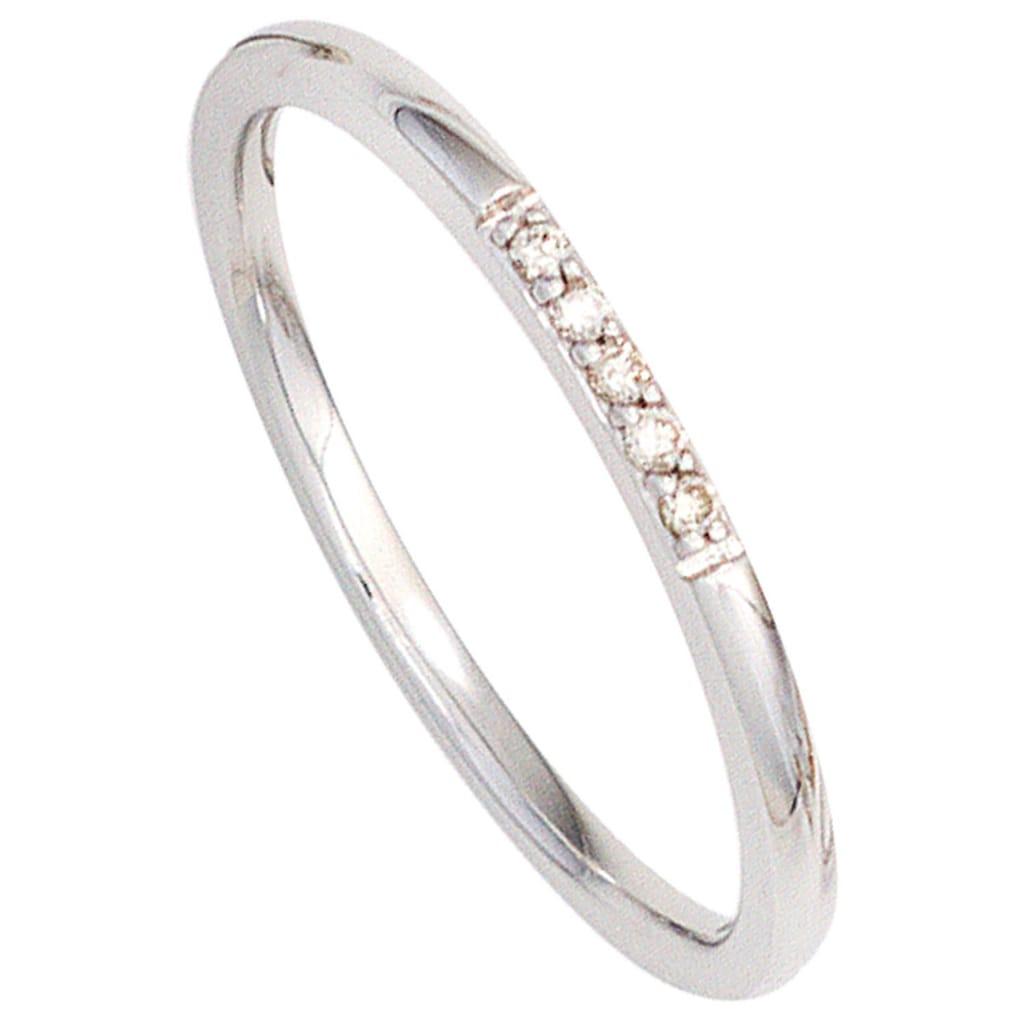 JOBO Diamantring, 585 Weißgold mit 5 Diamanten