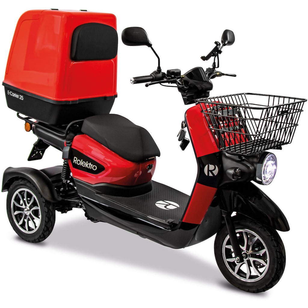Rolektro Elektromobil »Rolektro E-Carrier 25 V.3 Lithium mit XXL-Koffer«, 1000 W, 25 km/h, (mit Topcase)