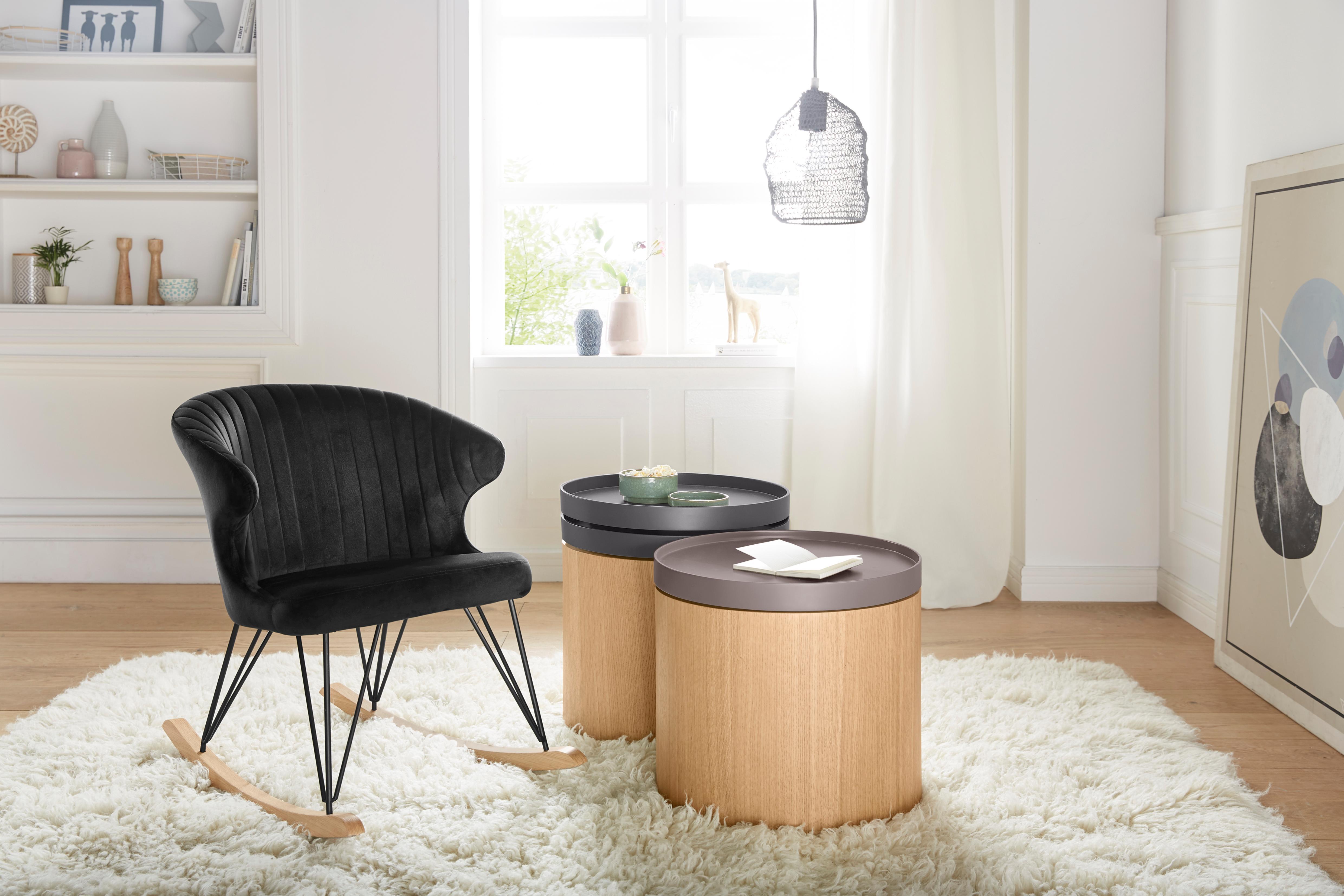 andas Schaukelstuhl Tarim mit schönem Metallgestell und gemütlichen Velvetbezug Sitzhöhe 48 cm
