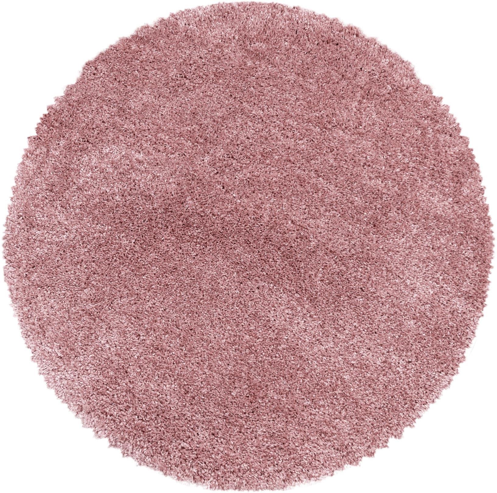 Ayyildiz Hochflor-Teppich FLUFFY 3500, rund, 50 mm Höhe rosa Wohnzimmerteppiche Teppiche nach Räumen