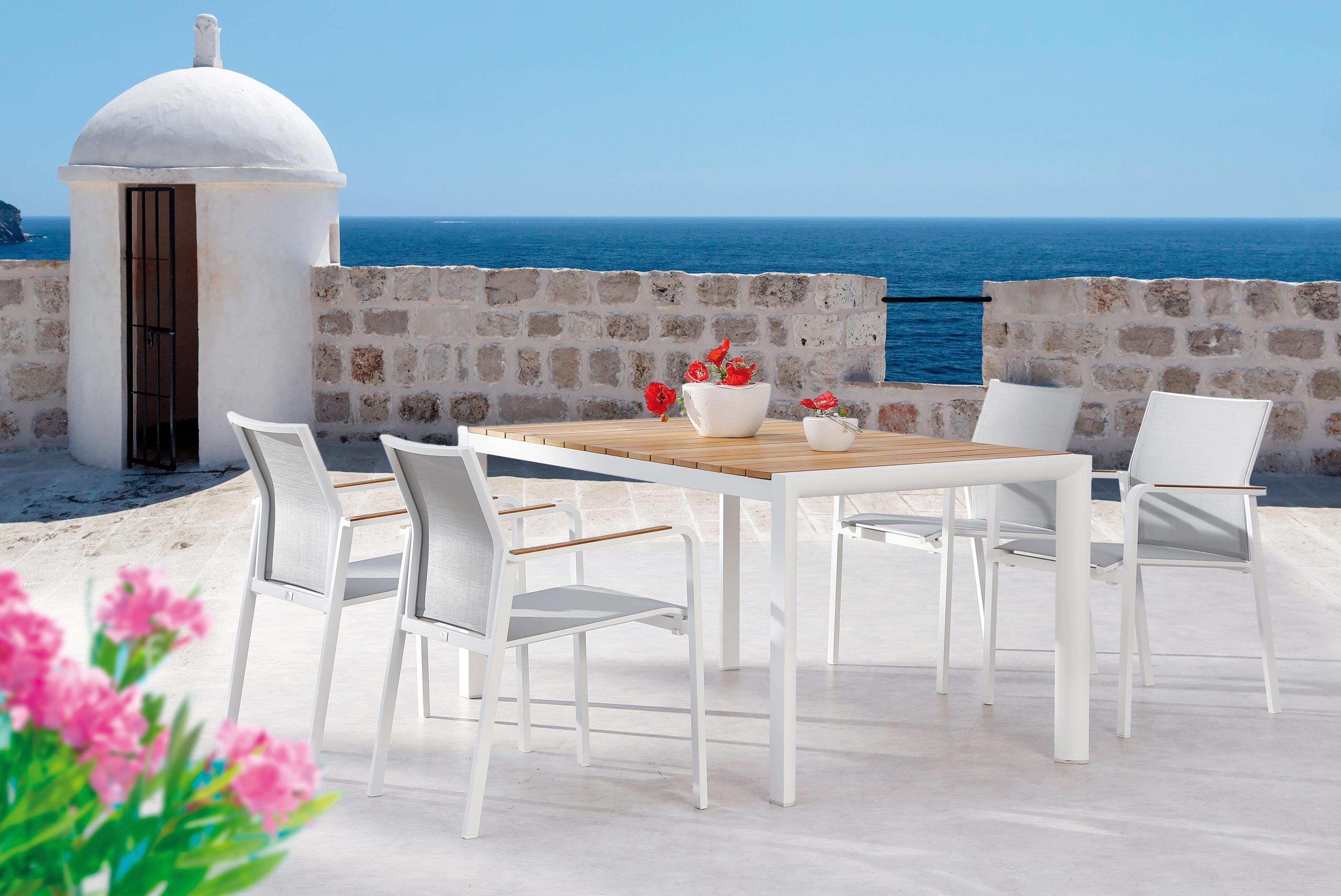 BEST Gartenmöbelset Paros 5-tlg 4 Sessel Tisch 160x90 cm stapelbar Teak/Ergotex