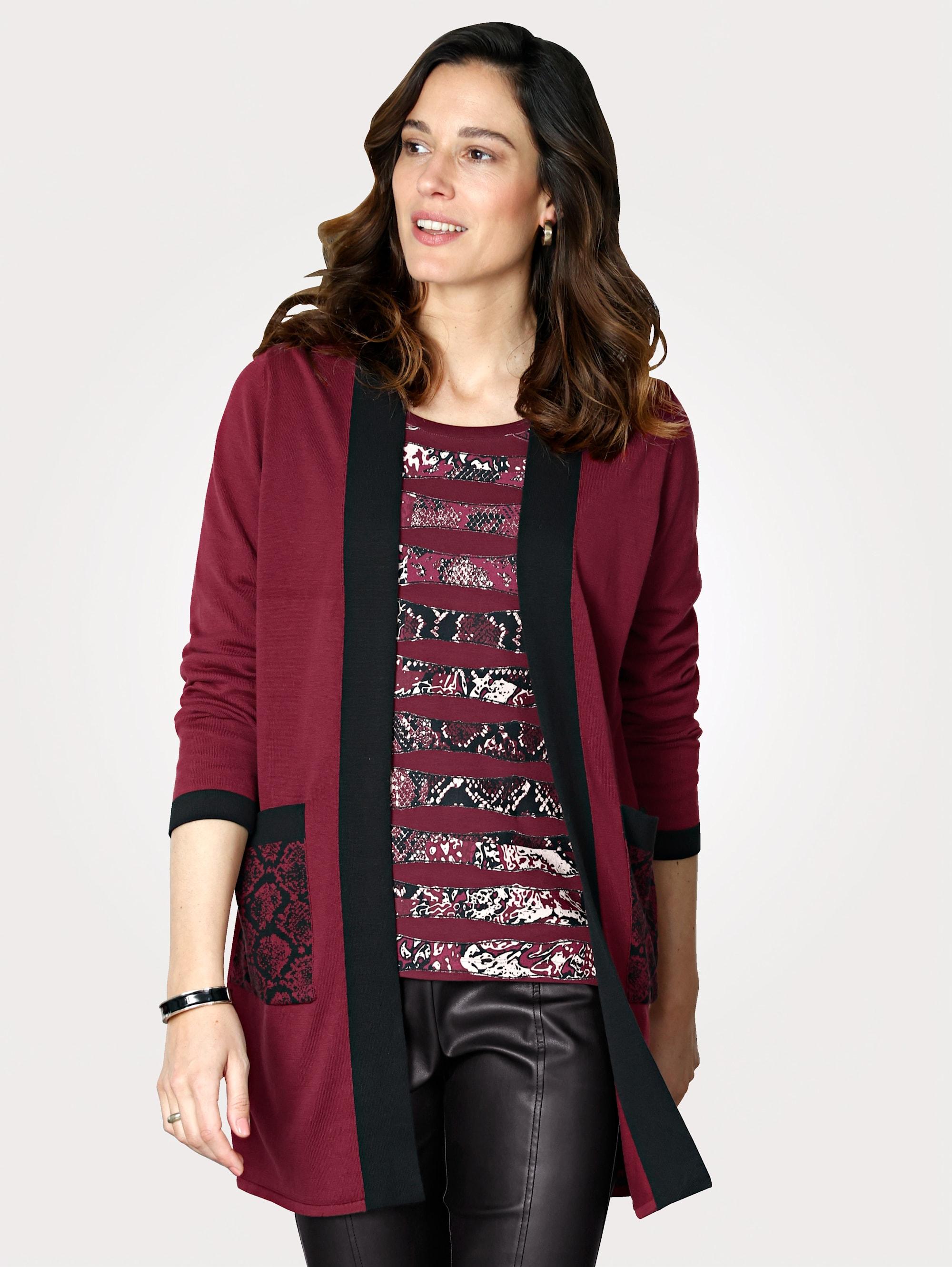 Mona Strickjacke, aus Feinstrick rot Damen Strickjacken Neuheiten Strickjacke