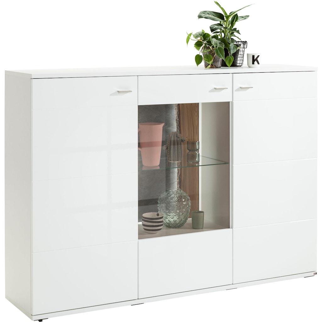 set one by Musterring Highboard »TACOMA«, Typ 52, Breite 180 cm, mit getönter Glastür