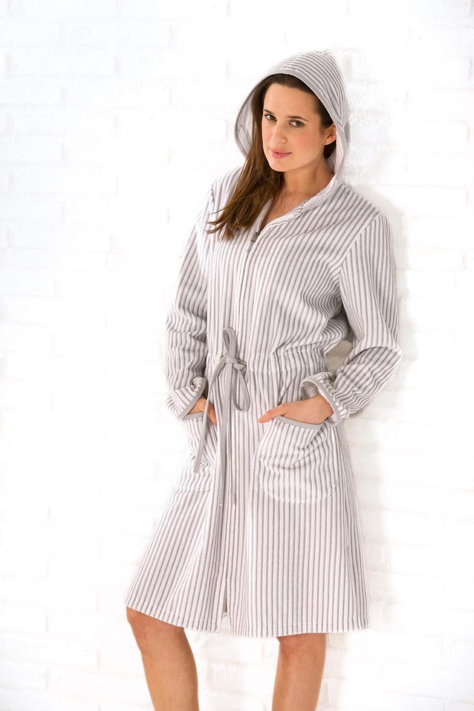 Damenbademantel, Cawö, »Borkum«, mit feinen Streifen   Bekleidung > Bademode > Bademäntel   Grau   Baumwolle   CAWÖ