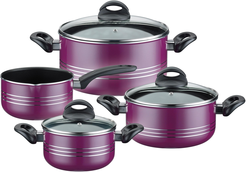 GSW Topf-Set Milano color, Leichtmetall-Legierung, (Set, 7 tlg.), Induktion lila Topfsets Töpfe Haushaltswaren Topf