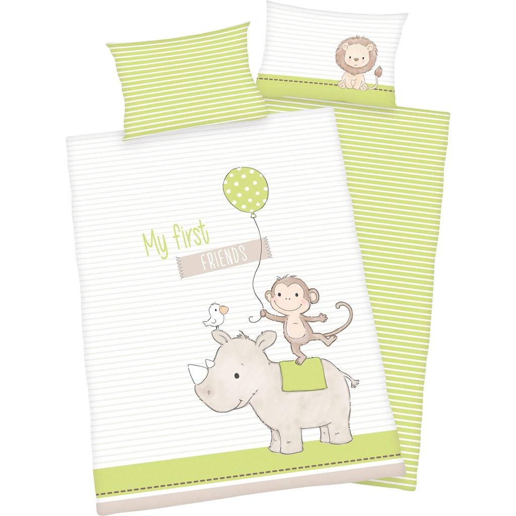 Baby Best Babybettwäsche »My first friends«, mit niedlichem Motiv und liebevollem Schriftzug