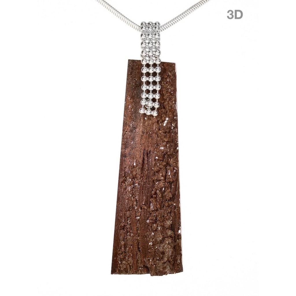 Adelia´s Kettenanhänger »Versteinertes Holz Anhänger 925 Silber«