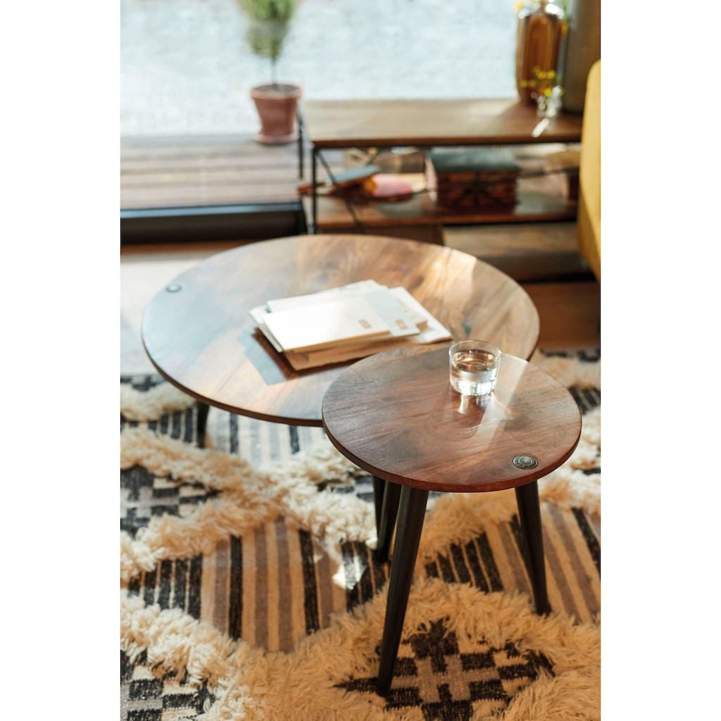 TOM TAILOR Beistelltisch »T-WOOD TABLE SMALL«, kleiner Beistelltisch mit Knopfdetail, dunkles Mangoholz und schwarze Beine