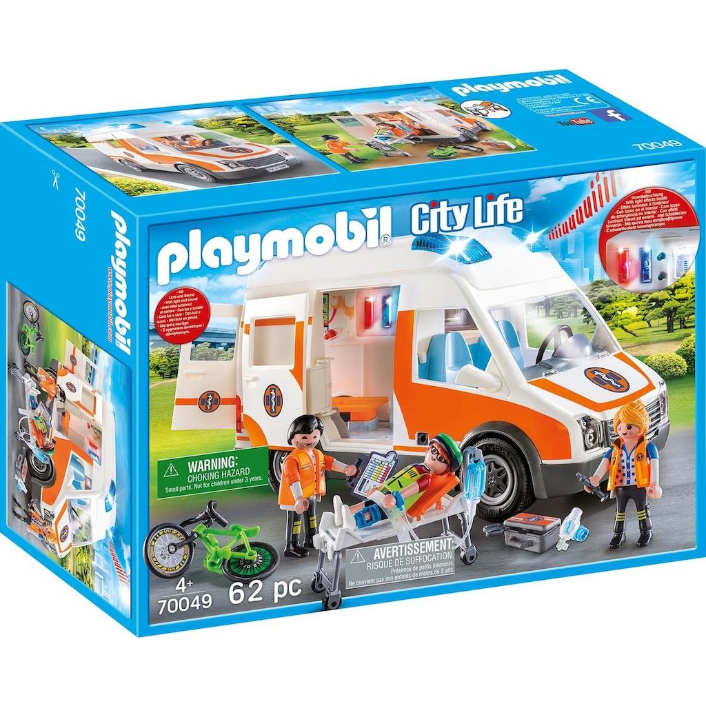 Playmobil® Konstruktions-Spielset »Rettungswagen mit Licht und Sound (70049), City Life«, Made in Germany