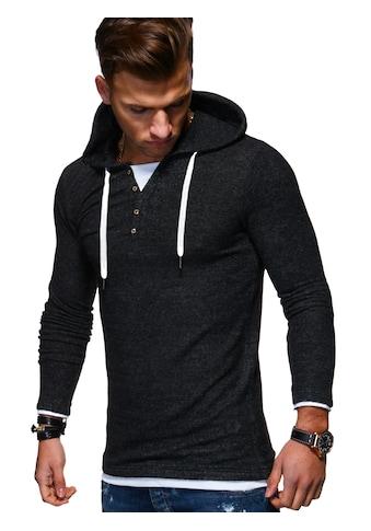 behype Kapuzensweatshirt »HENLEY«, in trendiger 2-in-1-Optik kaufen