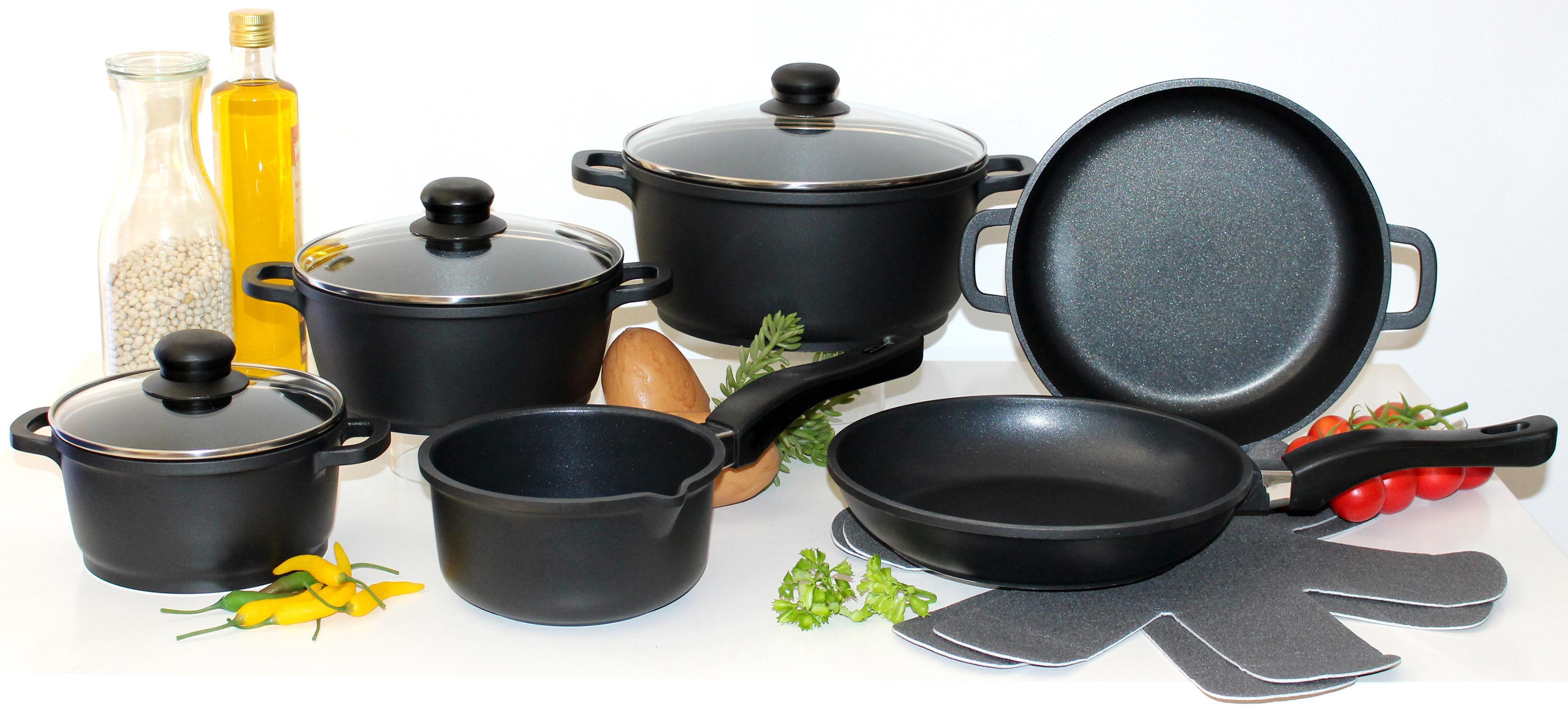 Elo - Meine Küche Topf-Set, Aluminiumguss, (Set, 10 tlg., 4 Töpfe, 3, Deckel, 2 Pfannen, 1 Paar Pfannenschoner) schwarz Topfsets Töpfe Haushaltswaren Topf