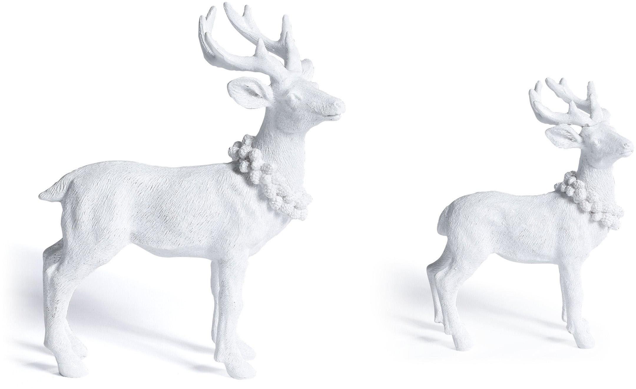 CHRISTMAS GOODS by Inge Tierfigur Hirsch weiß Tierfiguren Figuren Skulpturen Wohnaccessoires