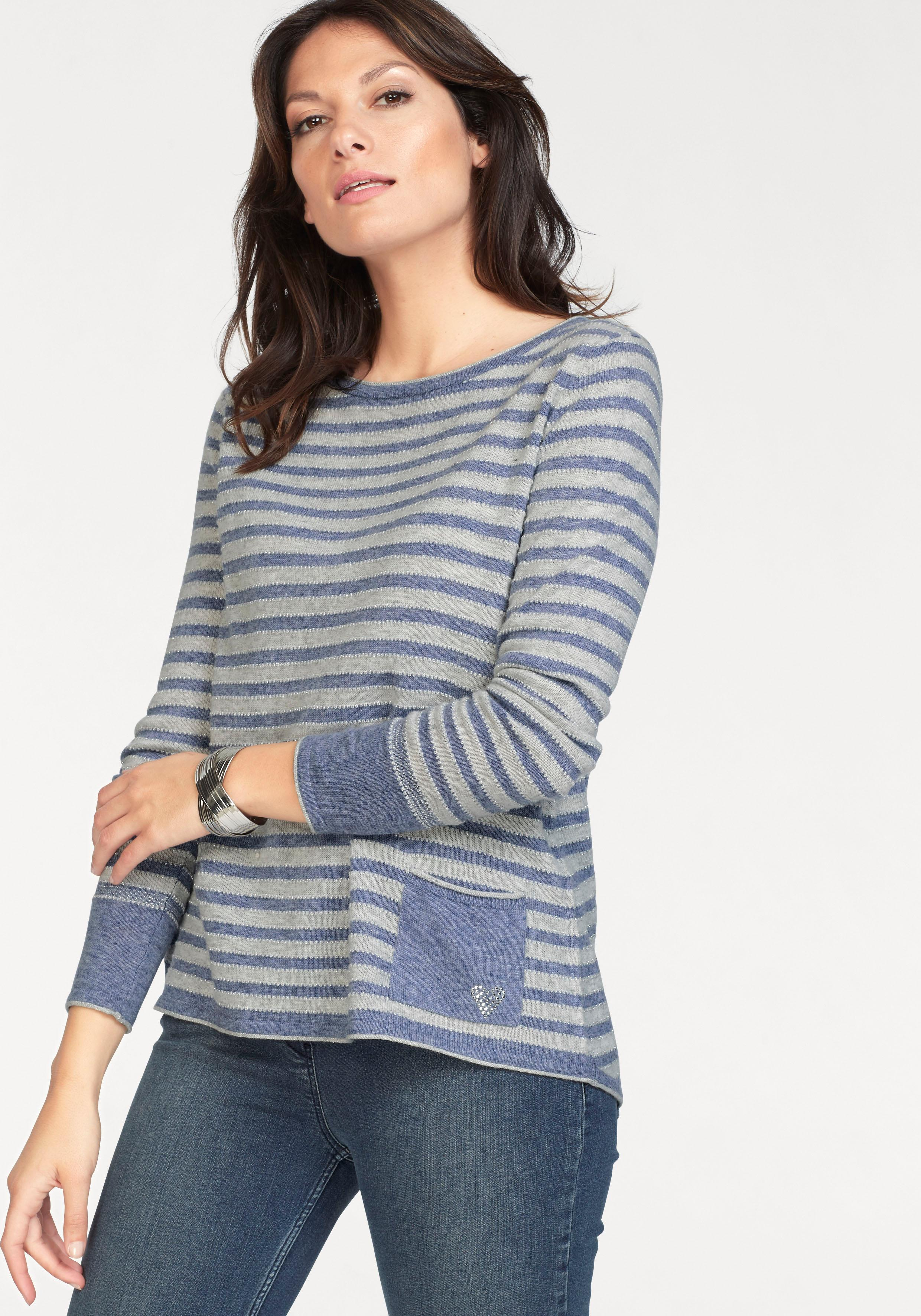 Clarina Streifenpullover | Bekleidung > Pullover > Streifenpullover | Blau | Clarina