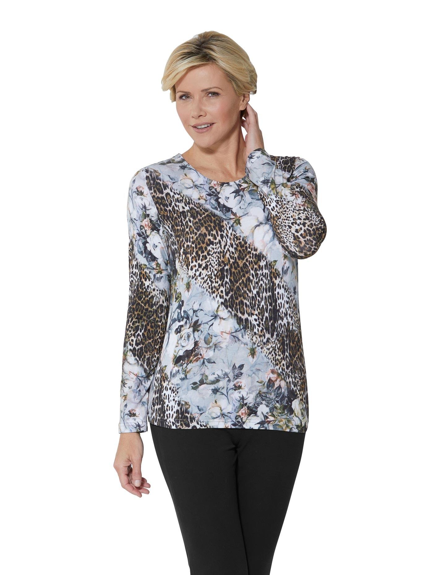 lady -  Shirt mit wildromantischen Mix aus floralen Blüten und Tierfell-Muster