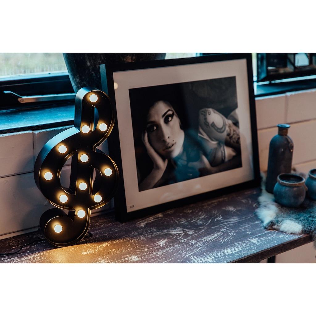 MARQUEE LIGHTS LED Dekolicht »Notenschlüssel«, 1 St., Warmweiß, Wandlampe, Tischlampe Music-Clef mit 12 festverbauten LEDs - 20cm Breit und 38cm hoch