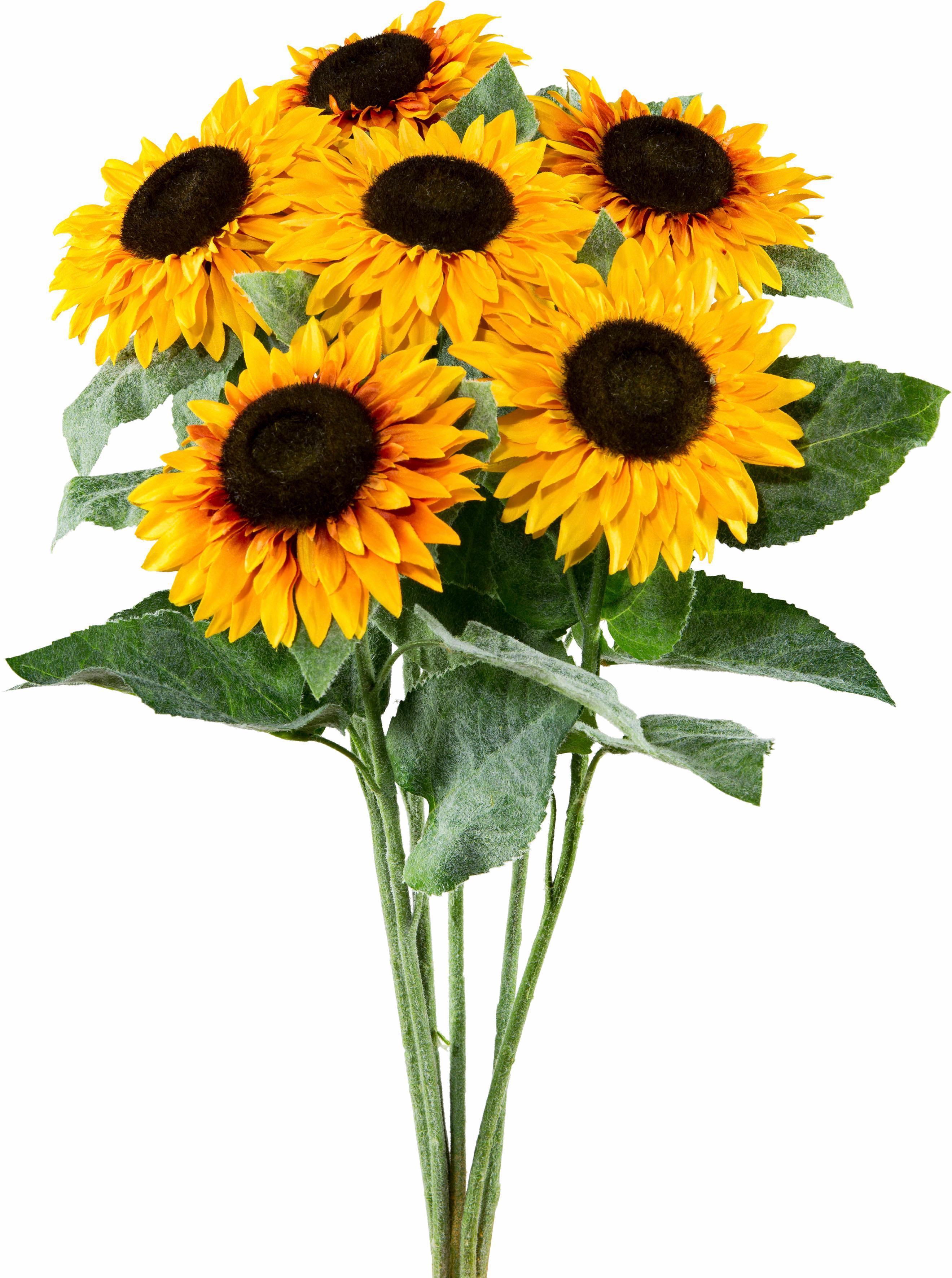 Creativ green Kunstblume Sonnenblume (Set, 6 Stück), gelb