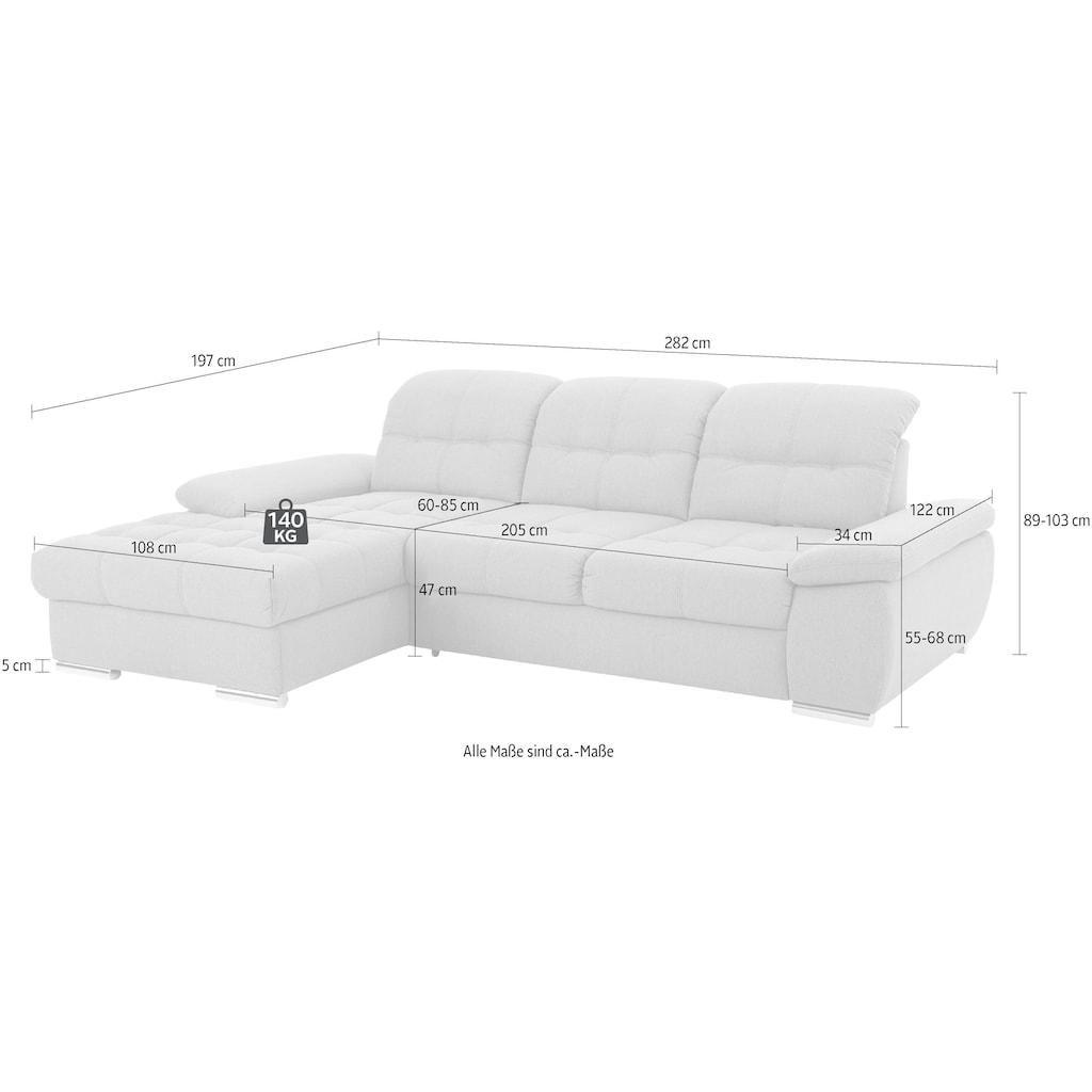 DELAVITA Ecksofa »Lotus Luxus«, mit Recamierenabschluß in vielen Varianten, incl. 3x Sitztiefenverstellung mit besonders hohem Sitzkomfort, belastbar bis ca. 140kg