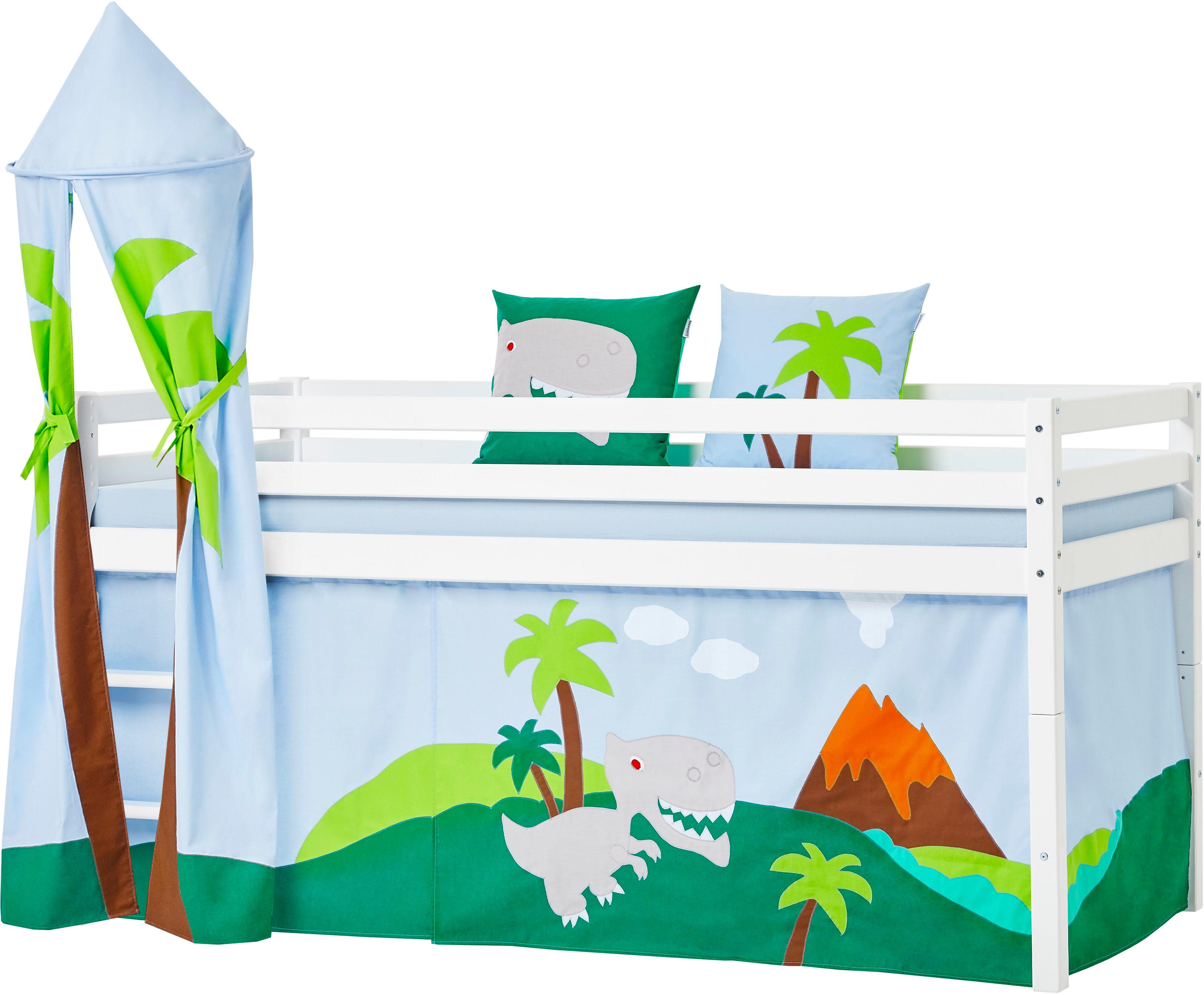 Hoppekids Hochbett Dinosaurier inkl Vorhang-Set Matratze und Rollrost