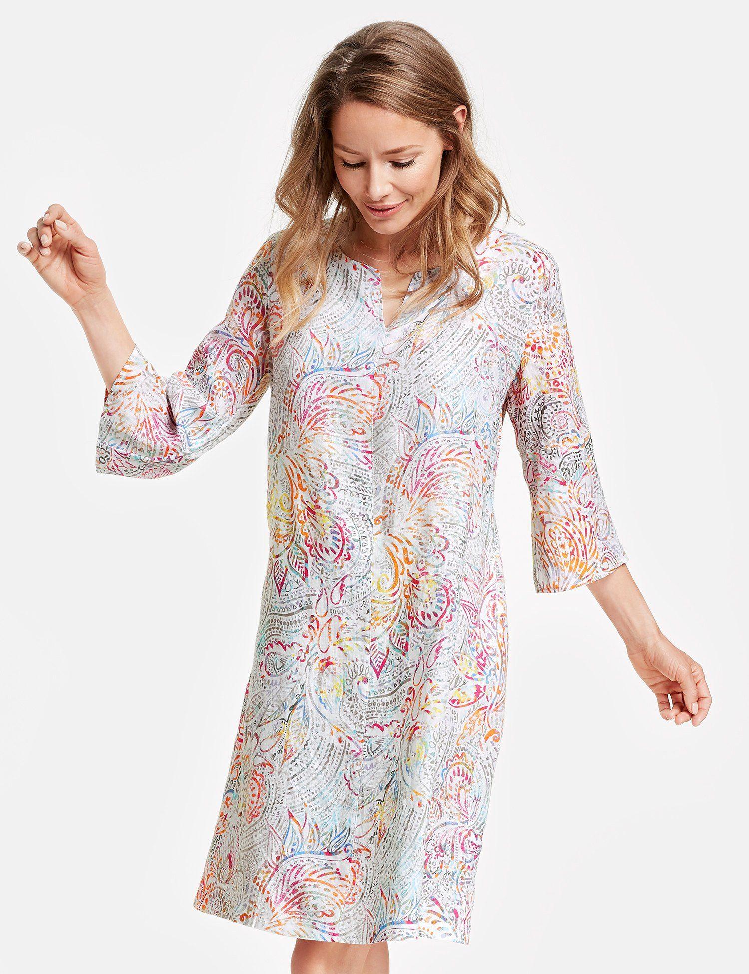 GERRY WEBER Kleid Gewebe Kleid aus bedrucktem Leinen