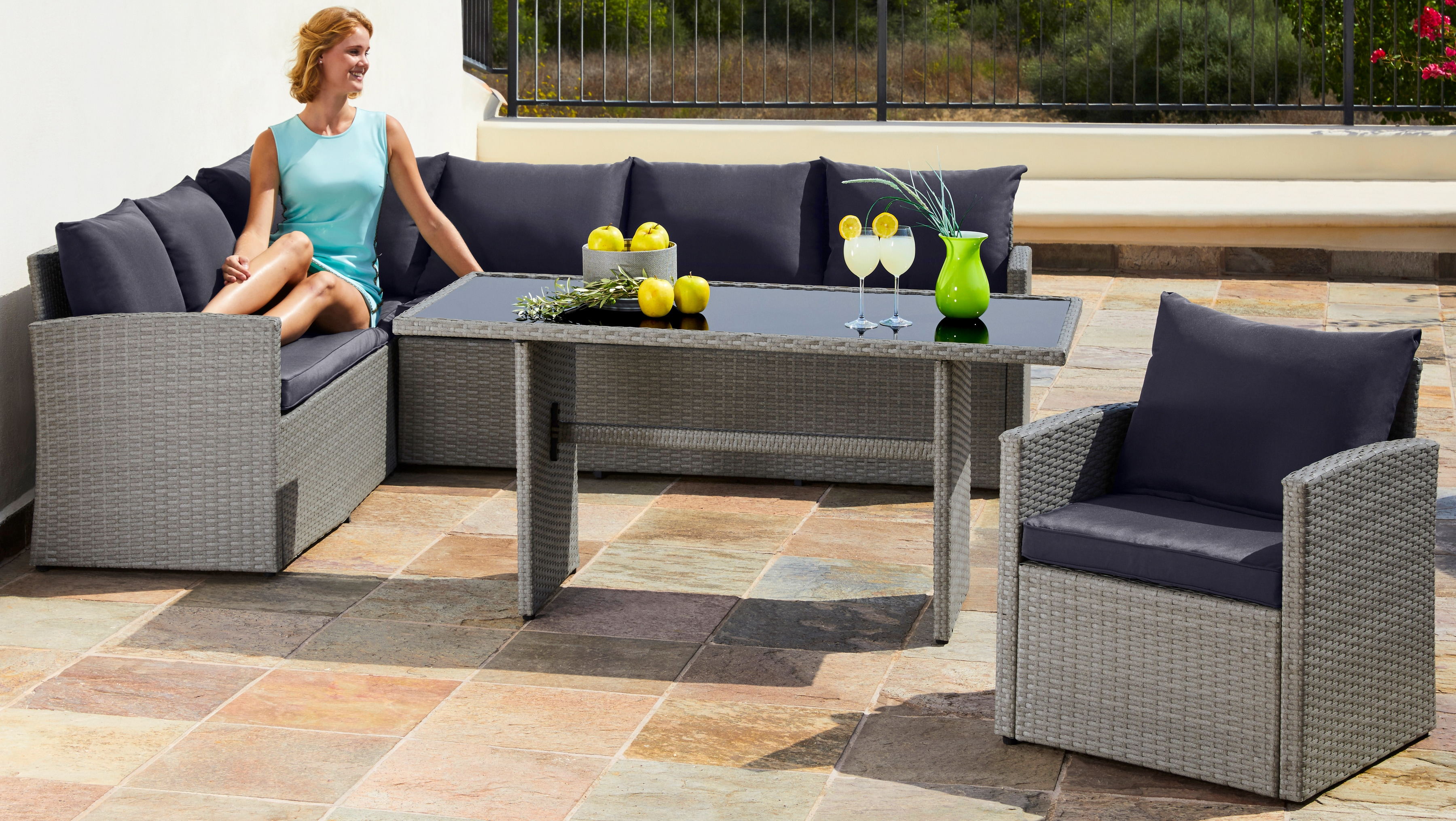 MERXX Loungeset Chicago 14-tlg Eckbank Sessel Tisch 145x70 cm Polyrattan grau