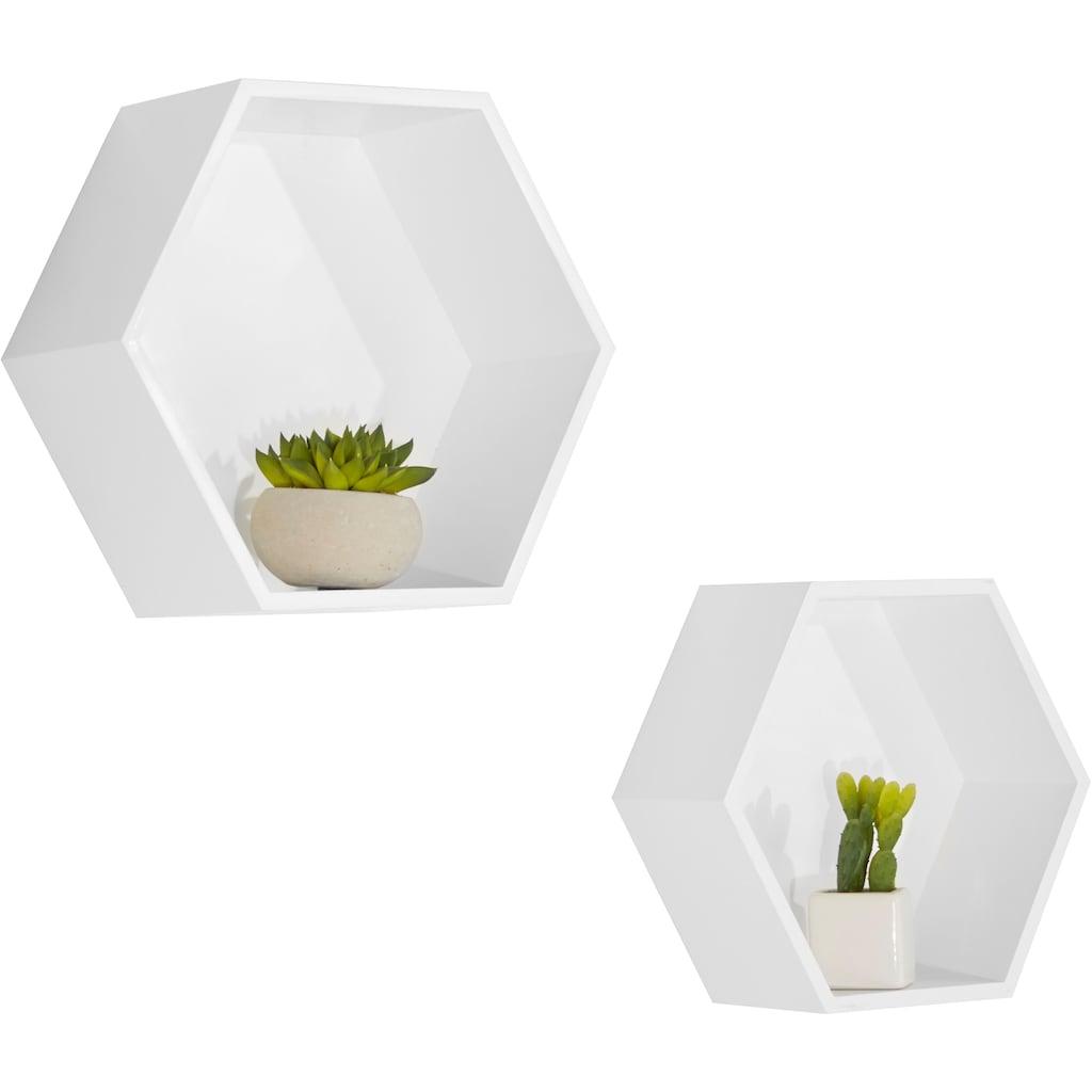 Lüttenhütt Wandregal »Hexagon«, (2er-Set)