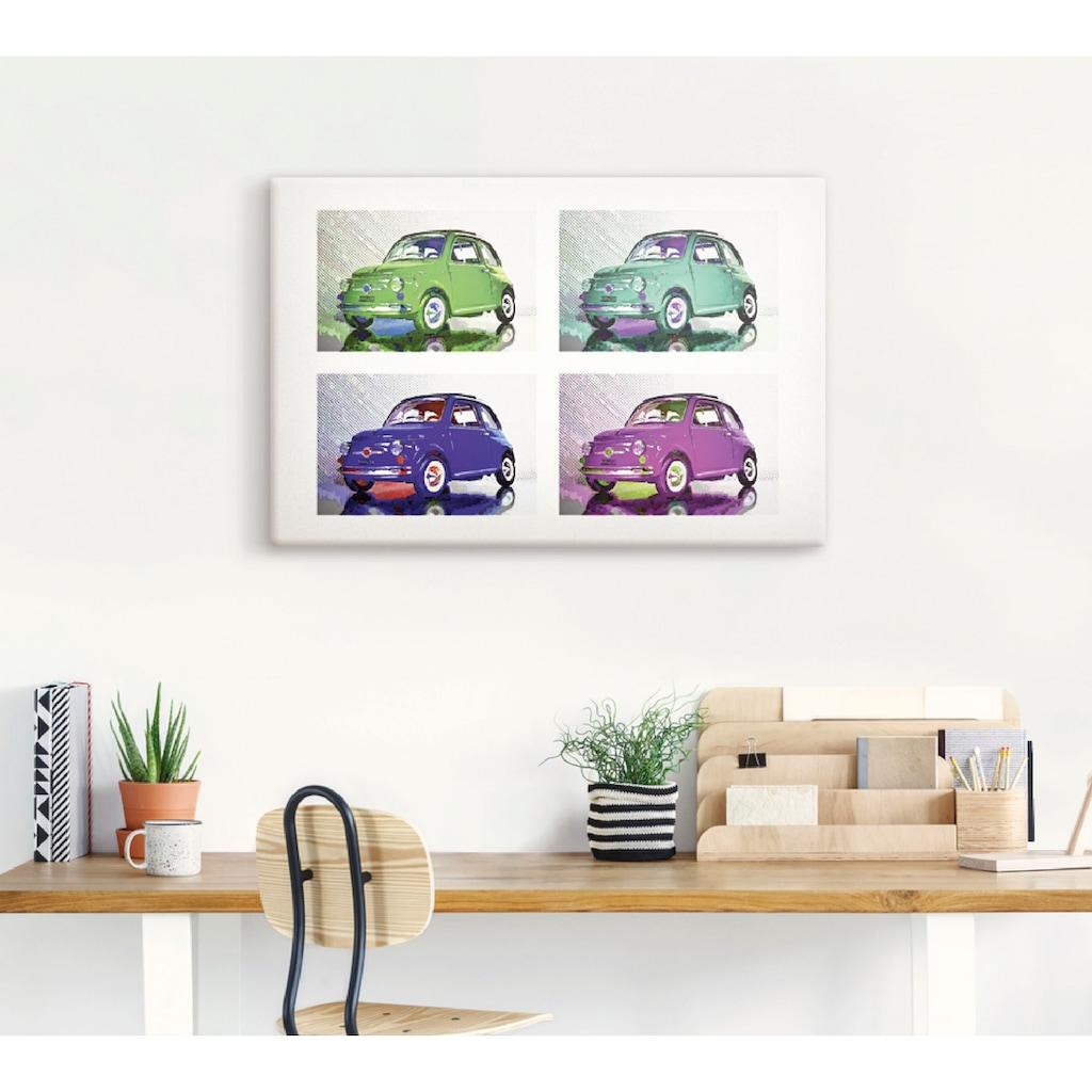 Artland Wandbild »POP ART: Der kleine italienische Freund«, Auto, (1 St.), in vielen Größen & Produktarten - Alubild / Outdoorbild für den Außenbereich, Leinwandbild, Poster, Wandaufkleber / Wandtattoo auch für Badezimmer geeignet