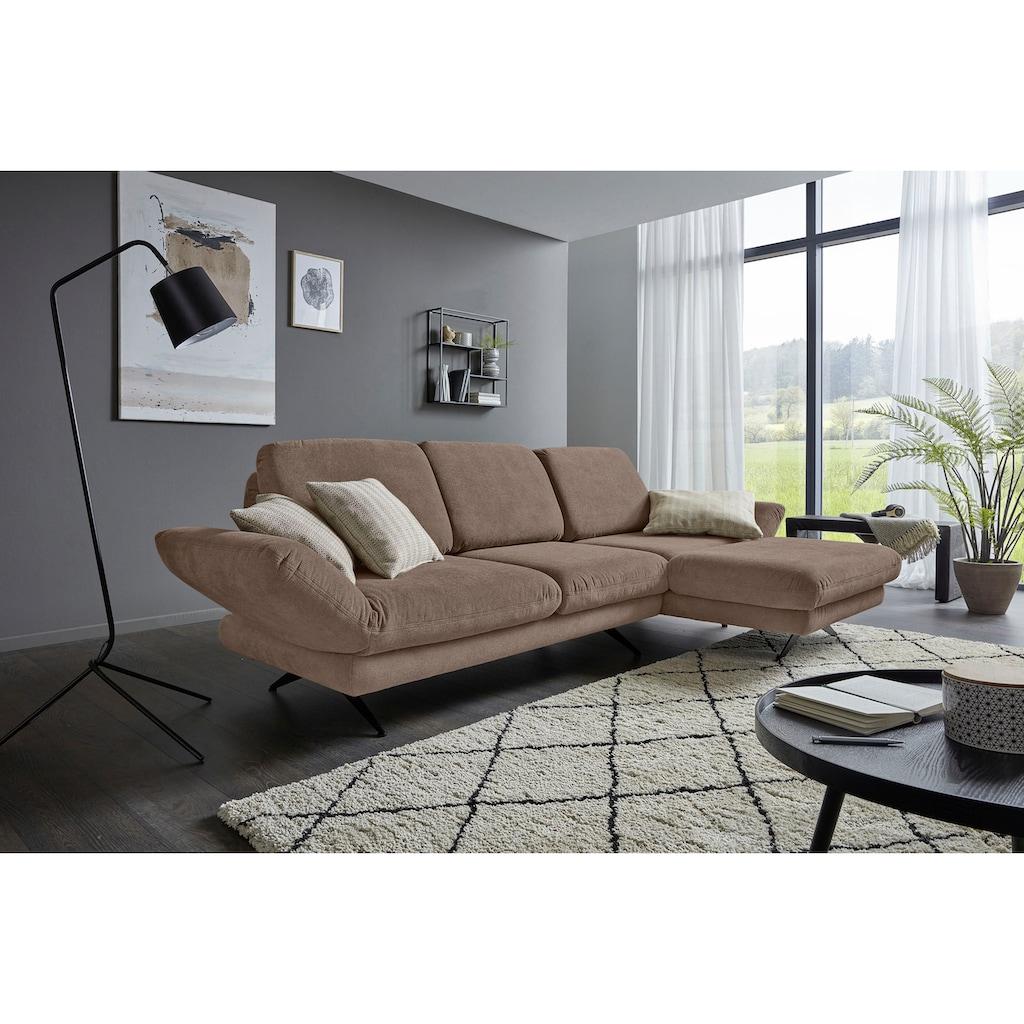 Places of Style Ecksofa »Saletto«, modernes Design, mit Armlehnenfunktion, wahlweise mit Drehsitz und Rückenverstellung