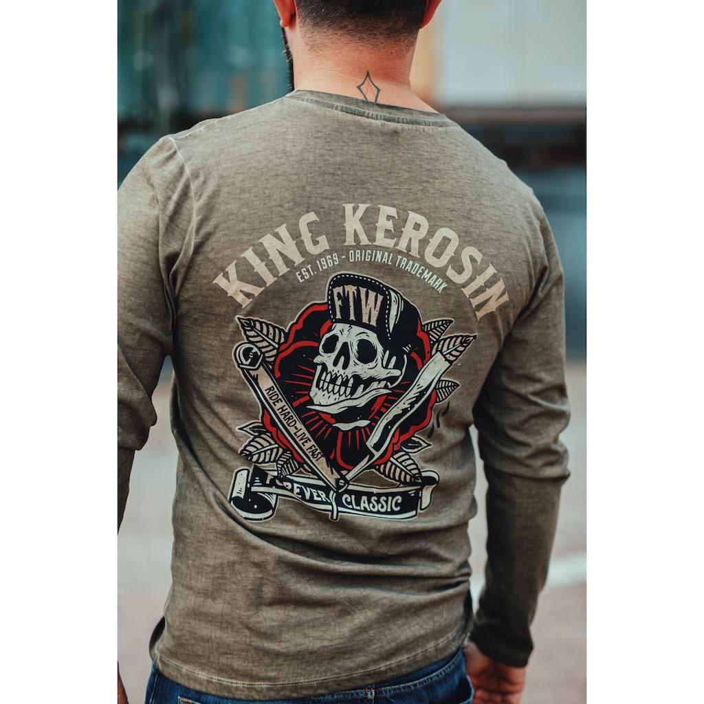KingKerosin Print-Shirt »Ride Hard Live Fast«, mit Prints und Oilwash-Effekten