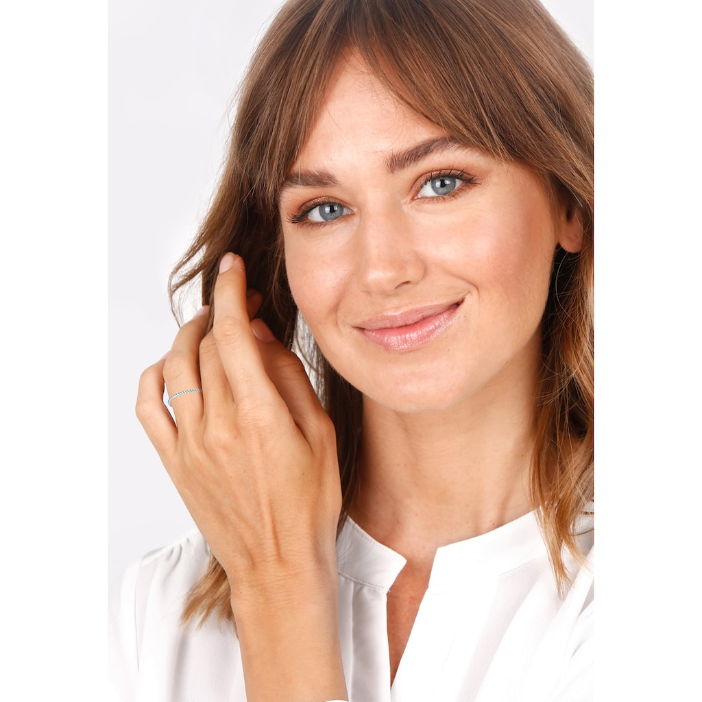 Elli Fingerring »Twisted Gedreht Basic Minimal Look 585 Weißgold«