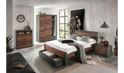 Home affaire Schlafzimmer-Set »BROOKLYN«, (Set, Einzelbett mit Holzkopfteil, Nachtkommode, Kleiderschrank 3 trg., Kommode), in dekorativer Rahmenoptik kaufen