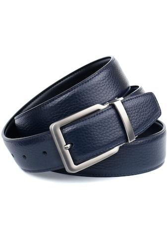 Anthoni Crown Ledergürtel, Wendegürtel in dunkelblau und schwarz, Schließe matt kaufen